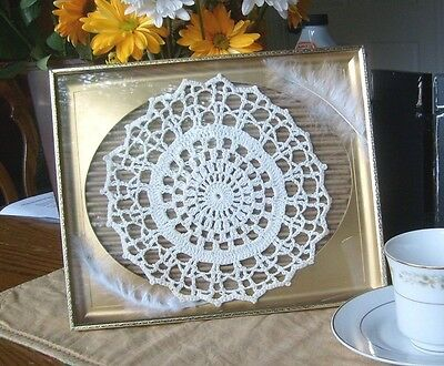 Framed textile, lace, paper, feathers, home decor, modern, victorian