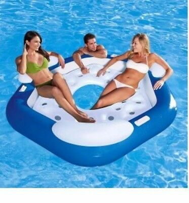 Inflatable Doughnut Island with Handles - Rideable Swimming Pool Party Float