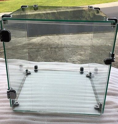 """Glass Cube Case Display Showcase Portable Lock Hasp Hinges 14""""x14""""  Used"""