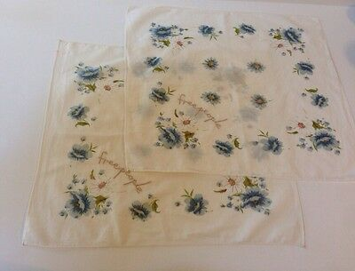 Freepeople Cotton Handkerchief Blue Floral Embroidery Set Of Two