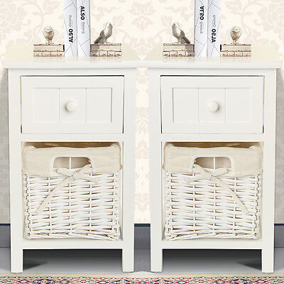 Pair of Chic White Bedside Units Tables Drawers with Wicker Storage New Charity