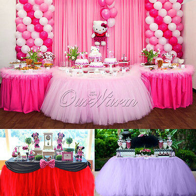 100*80CM TUTU Table Skirt Tableware For Xmas Wedding Baby Shower Party Birthday
