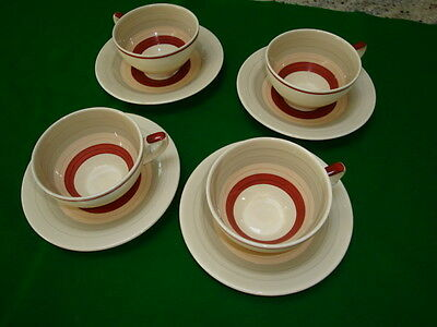Susie Copper - Vintage Set of 4 Teacup and Saucers