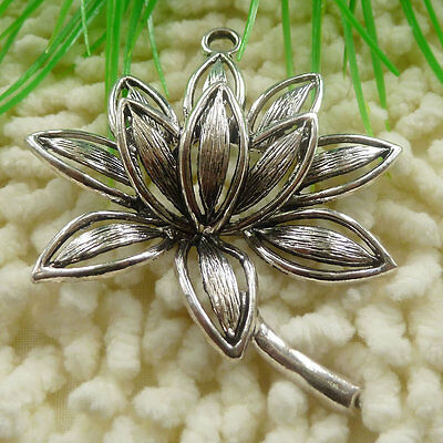 Free Ship 6 pieces tibetan silver water lily pendant 74x57mm #675