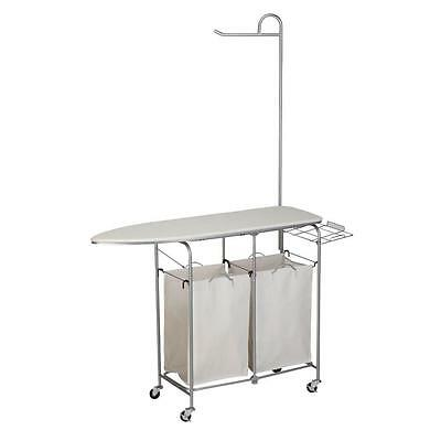 Honey-Can-Do Foldable Ironing Board Laundry Center Cart & Valet Steel Natural