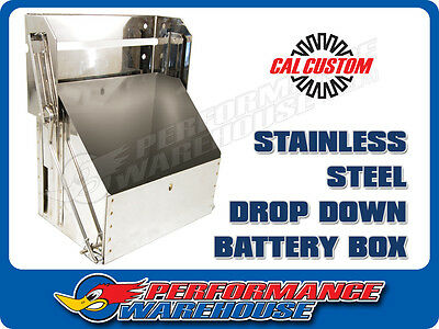 Stainless Steel Drop Down Battery Box, Custom, Hot Rod, Classic, Street, Battery
