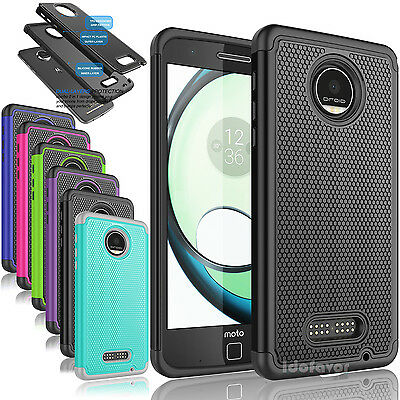 NEW Hybrid PC Rugged Rubber Case Cover fr Motorola Moto Z Play/Moto Z Play Droid