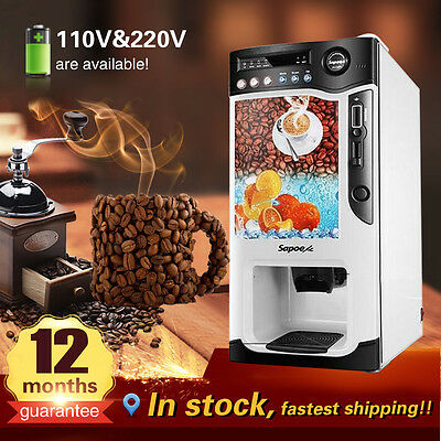 3 hot drinks,3 cold drinks instant coin operated tea coffee vending machine