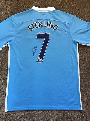 Raheem Sterling Hand Signed Autograph Shirt Manchester City FC Exact Proof COA