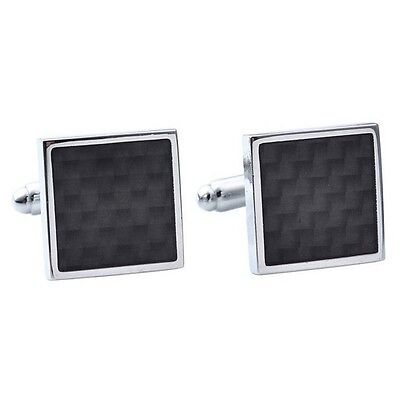Black Carbon Fiber Retro Stainless Steel Square Cufflinks Business Wedding GT