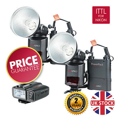 HYBRID360 ITTL Twin Bare bulb Flash Kit Nikon Fit Godox AD360Nii 2y UK warranty