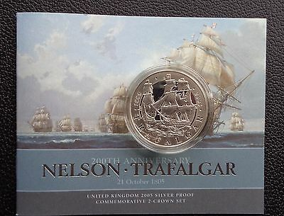 Great Britain 2005 Trafalgar £5 Five Pounds Silver Proof Crown Coin WITH COA