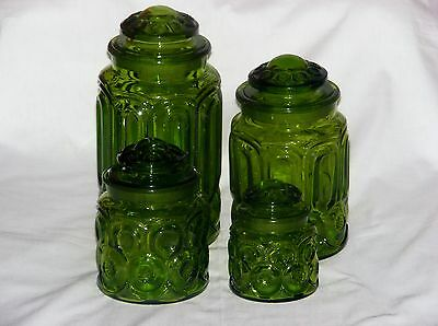 LE Smith Moon & Stars Green Canister Set Apothecary Jars