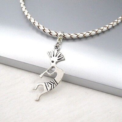 Silver Alloy Kokopelli Music Pendant Braided White Leather Cord Ethnic Necklace