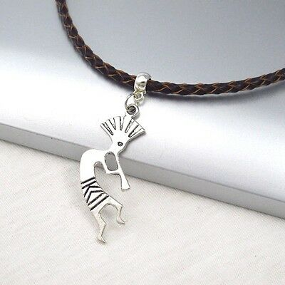 Silver Alloy Kokopelli Music Pendant Braided Brown Leather Cord Ethnic Necklace