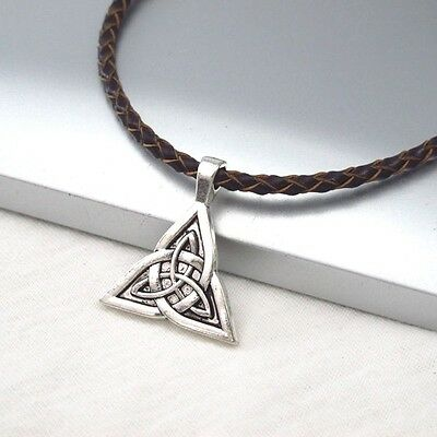 Silver Alloy Celtic Triquetra Knot Symbol Pendant Braided Brown Leather Necklace