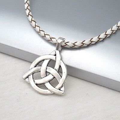 Silver Alloy Celtic Symbol Pendant Braided White Leather Ethnic Tribal Necklace