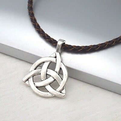 Silver Alloy Celtic Symbol Pendant Braided Brown Leather Ethnic Tribal Necklace