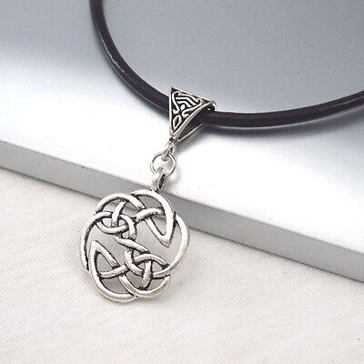 Silver Alloy Round Celtic Symbol Pendant 3mm Black Leather Cord Ethnic Necklace
