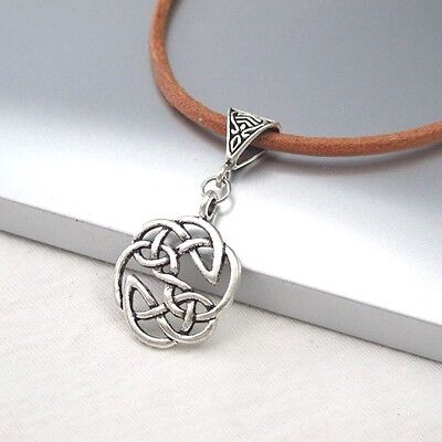 Silver Alloy Round Celtic Symbol Pendant 3mm Light Brown Leather Ethnic Necklace