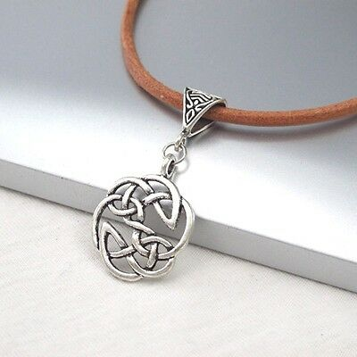 Vintage Silver Round Celtic Knot Alloy Pendant 3mm Light Brown Leather Necklace