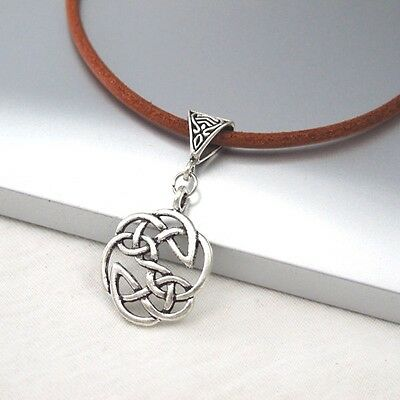 Vintage Silver Round Celtic Knot Alloy Pendant 3mm Brown Leather Cord Necklace