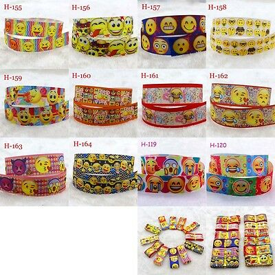2 10yads 7/8''(22mm) emoji design Grosgrain Ribbon DIY Sewing Hair Bows Crafts E