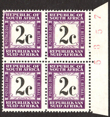 South Africa Postage Due 1961-9 2c DOT by 'c' VARIETY SG.D53, UM block of 4