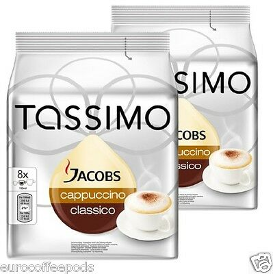 Tassimo Jacobs Cappuccino Coffee 2 Pack 32 T-Disc 16 Servings