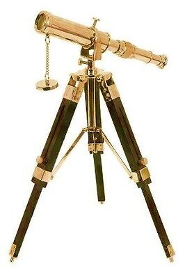"""10"""" Solid Brass Telescope with Tripod Stand Decorative Collectable"""
