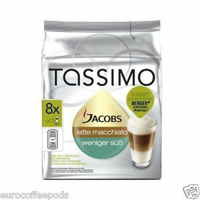 Tassimo Jacobs Latte Macchiato Less Sweet Coffee 1 Pack 16 T Disc 8 Servings