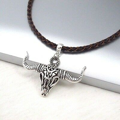 Silver Alloy Longhorns Bull Skull Pendant Braided Brown Leather Choker Necklace