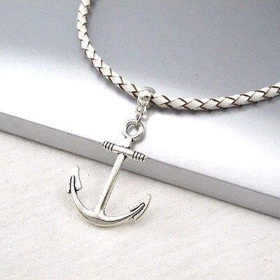 Silver Alloy Anchor Symbol Pendant Braided White Leather Cord Surfer Necklace