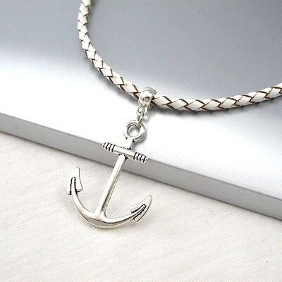 Silver Boat Anchor Symbol Pendant 3mm Braided White Leather Cord Necklace