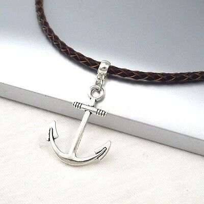 Silver Alloy Anchor Symbol Pendant Braided Brown Leather Cord Surfer Necklace