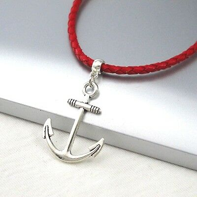 Silver Boat Anchor Symbol Alloy Pendant 3mm Braided Red Leather Necklace