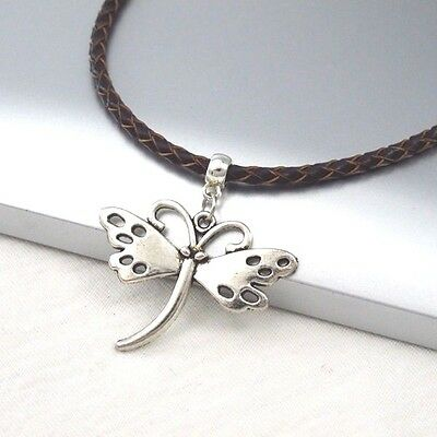 Silver Alloy Butterfly Wings Pendant Braided Brown Leather Cord Choker Necklace