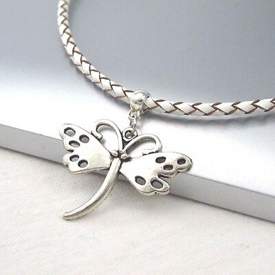Silver Alloy Butterfly Wings Pendant Braided White Leather Cord Choker Necklace