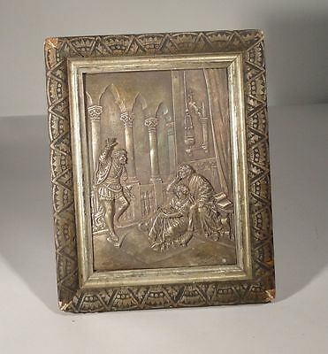 Antique Repousse Sterling Silver 925 PLaque Othello after Carl Becker