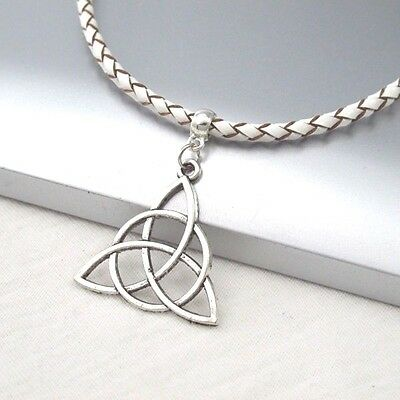 Silver Alloy Celtic Knot Symbol Pendant Braided White Leather Ethnic Necklace