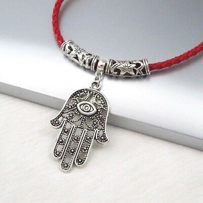 Silver Alloy Hand Eye Symbol Pendant Braided Red Leather Cord Ethnic Necklace