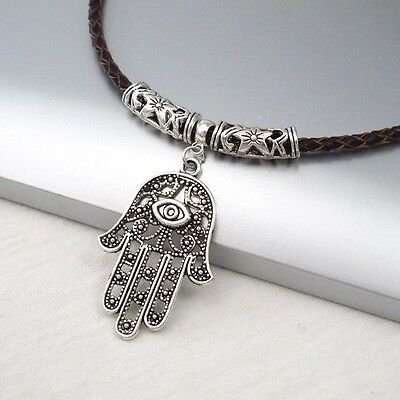 Silver Alloy Hamsa Khamsa Hand Eye Pendant Braided Brown Leather Choker Necklace