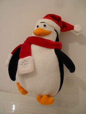 """MERRY MADAGASCAR - 11"""" PENGUIN SOFT TOY with SANTA CHRISTMAS HAT AND SCARF"""