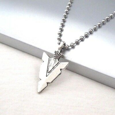 Vintage Silver Alloy Native American Spear Arrow Pendant Ball Chain Necklace