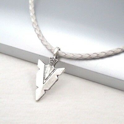 Silver Alloy Native American Spear Arrow Pendant White Leather Choker Necklace