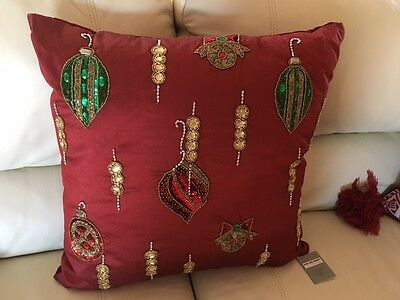 """Kim Seybert Over-Size Christmas Holiday Red 22"""" Beaded Ornament Pillow NWT"""