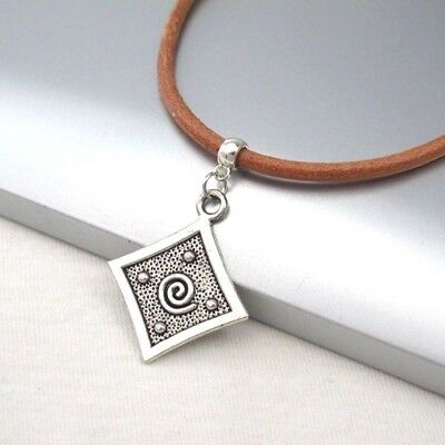 Silver Alloy Square Spiral Pendant 3mm Brown Leather Cord Choker Necklace