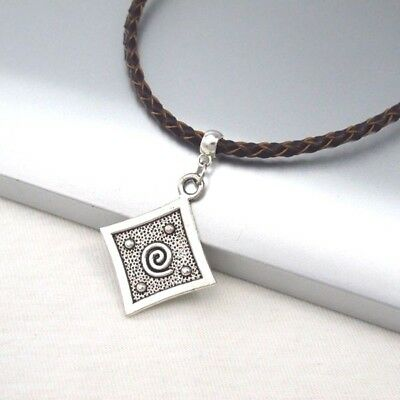Silver Alloy Square Spiral Pendant Braided Brown Leather Choker Necklace