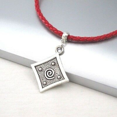 Silver Alloy Square Spiral Pendant Braided Red Leather Cord Choker Necklace