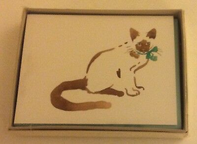 Watercolor CAT Blank Notecards, Vtg Hallmark Crown Collection 8ct & Envelopes